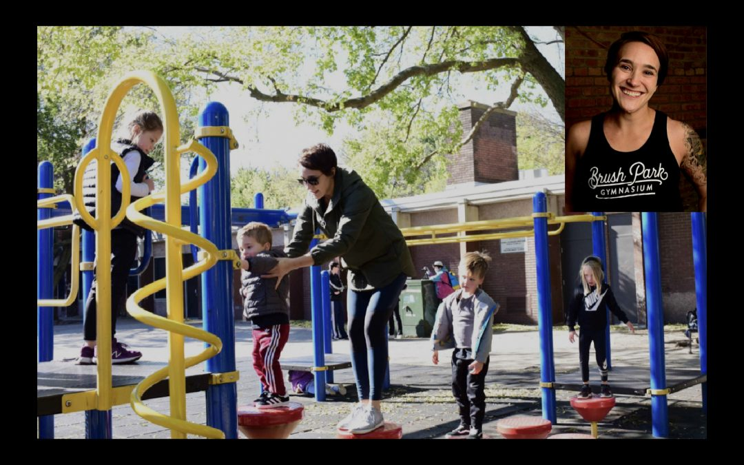 Woman playing with kids at park.